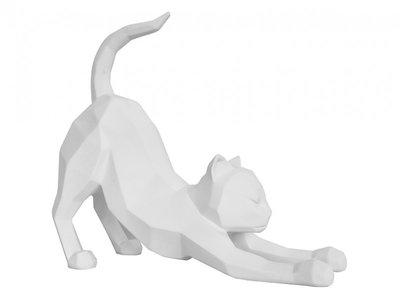 Beeldje stretching cat wit
